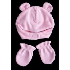 Fleece Bear Hat and Mitten Set /Pink