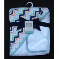 Hooded BathTowel & Washcloth /Zig-Zag