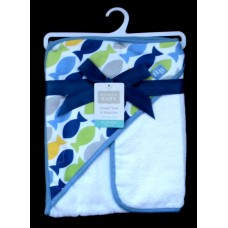 Hooded BathTowel & Washcloth /Fish Design