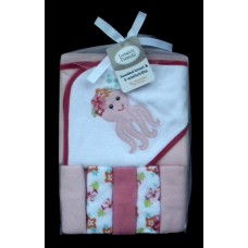 Hooded Towel & 5 Washcloths /Pink Octopus