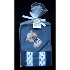 Hooded Towel & 5 Washcloths /Sailor Dog