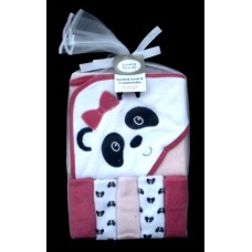 Hooded Towel & 5 Washcloths /Panda