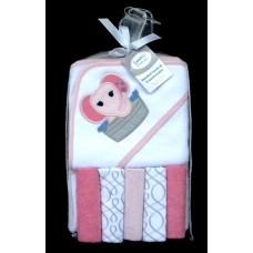 Hooded Towel & 5 Washcloths /Elephant