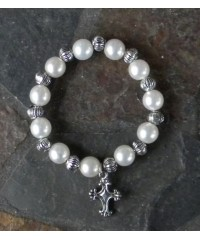 Cross & Pearls Stretch Bracelet