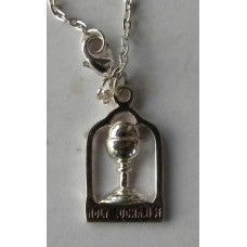 Holy Eucharist Silver Pendant with Chain