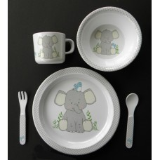 "Dish Sets /5 Pc. Dish Sets /""Elephant & Blue Bird"""