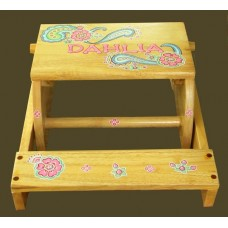 "Reg. or Large Step Stools /NATURAL or WHITE / ""Pink Paisley"""