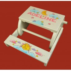 """Reg. or Large Step Stools /NATURAL or WHITE / """"SUN and MOON"""""""