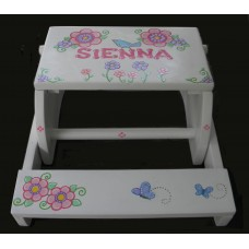 Reg. or Large Step Stools /NATURAL or WHITE  /Blue Bird, Butterflies and Flowers