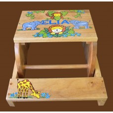 """Reg. or Large Step Stools /NATURAL or WHITE / """"Jungle Animals"""" 3"""