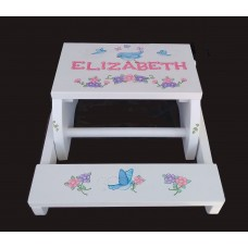 Reg. or Large Step Stools /NATURAL or WHITE / Blue Birds & Flowers
