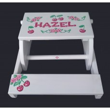 Reg. or Large Step Stools /NATURAL or WHITE / Cherries & Flowers