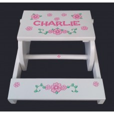 Reg. or Large Step Stools /NATURAL or WHITE / Pink Flowers