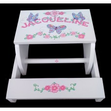 Reg. or Large Step Stools /NATURAL or WHITE / Blue Butterflies & Pink Flowers