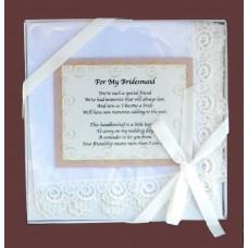 """Bridesmaid Handkerchief /""""For My Bridesmaid"""""""