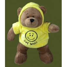 """Get Well"" /Happy Face Hoodie Bear"