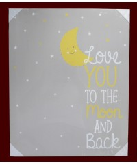 "Light-Up Moon and Stars Canvas Art Picture / ""Love You To The Moon and Back"""