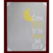 """Light-Up Moon and Stars Canvas Art Picture / """"Love You To The Moon and Back"""""""