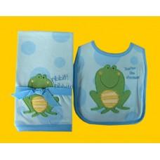 """Burp Cloths & Bibs Sets /""""Ribbit, Ribbit"""" Frog"""