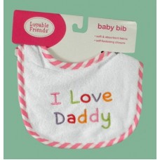 """Bibs /""""I Love Daddy"""" Pink or Blue"""