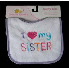 "Bibs /""I Love My Sister/Brother"""