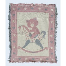 Woven Fringed Throws /Teddy Bear On Rocking Horse