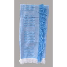Woven Fringed Throws /Blue Quilted