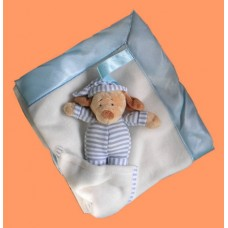 Baby Blankets W/Removable Dog Rattle /Blue