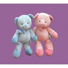 Bears--Pink & Blue Large Rattle Plush