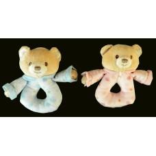 Poka Dot Bear Ring Rattles/ Pink or Blue