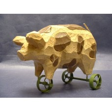 Pull Toys /Pigs On-Wheels /Rustic