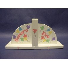 "Arched Wood Bookends/White:""Heart Balloons"" Design"