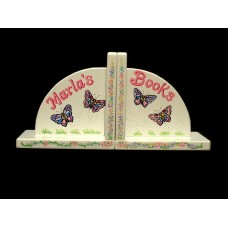 "Arched Wood Bookends /White:""Butterfly"" Design"