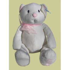 """God Bless Baby"" Little Blessing /""Lyn"" White & Pink Bears"