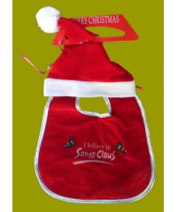 "Christmas Bibs /Santa Hat & Bib:""I Believe In Christmas"""