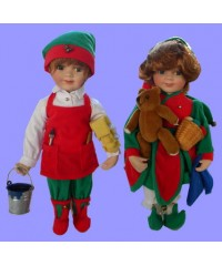 "Dolls : ""Santa's Helpers"" /Boy & Girl"