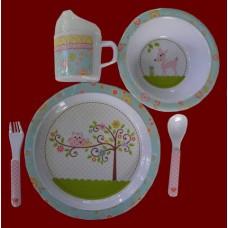 """Dish Sets /5 Pc. Dish Sets /""""Happi Baby Girl"""""""