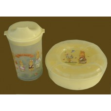 Little Traveler Set / Sippy Cup & Snack Container / Bunnies