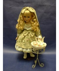 "Porcelain Dolls /""Polly"" & Tea Set"