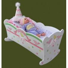 "Doll Cradles /Tiffany Bow: ""Birds"", 'Tulips"" or ""Hearts"" Design"