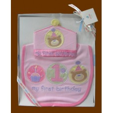 """My First Birthday"" Bib & Crown set /Pink or Blue"
