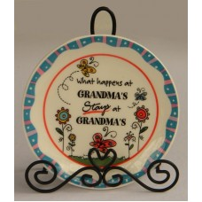 """Plate & Stand /""""What Happens At Grandma's Stays At Grandma's"""""""