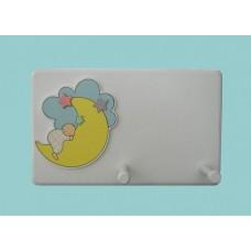 Moon & Baby Appliques /White 2-Peg Plaque