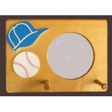 2-Peg Plaque Hang-Up with Mirror /Natural  /Baseball