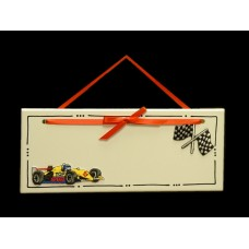 Race Cars Name Plaques /White or Red