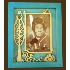 Teal Blue Wooden  Picture Frame W/Cut-Outs
