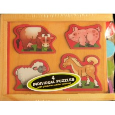 Wooden Mini-Puzzle-Pack /Animals