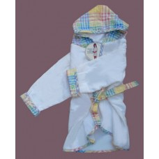 Hooded Terry Robes /Pastel Plaid
