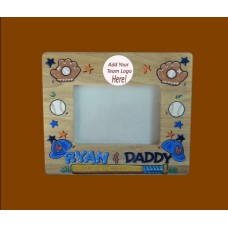 Handpainted Picture Frames; 5 x 7 Wide-Sides: Natural Wood /Sports