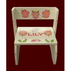 "Large Step Stools / ""Plaid Flowers, Dragonflies & Ladybugs"" NATURAL or WHITE"